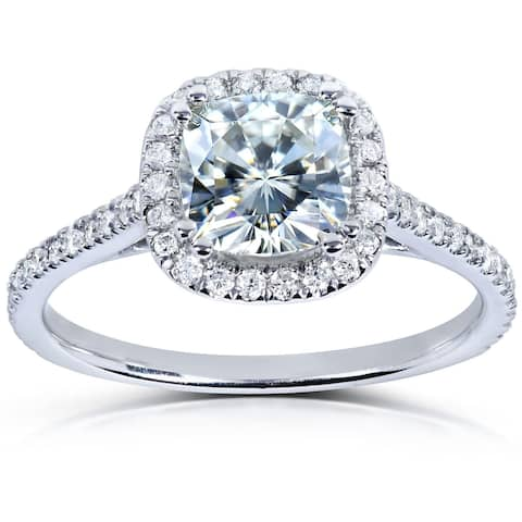 Annello by Kobelli 14k White Gold 1 1/3ct TGW Cushion-cut Moissanite and Diamond Halo Engagement Ring (HI/VS, GH/I)