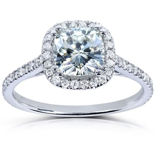 Annello by Kobelli 14k White Gold 1 1/3ct TGW Cushion-cut Moissanite (HI) and Diamond Halo Engagement Ring