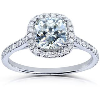 Annello by Kobelli 14k White Gold 1 1/3ct TGW Cushion-cut Moissanite (HI) and Diamond Halo Engagement Ring|https://ak1.ostkcdn.com/images/products/7621396/P15041823.jpg?impolicy=medium