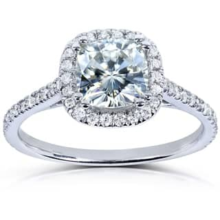 Annello By Kobelli 14k White Gold 1 3ct Tgw Cushion Cut Moissanite And
