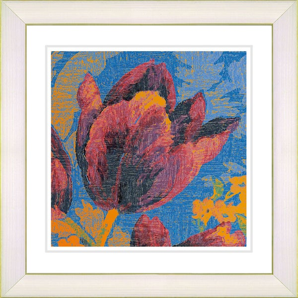 Studio Works Modern 'Blue Tulip - Orange' Framed Print