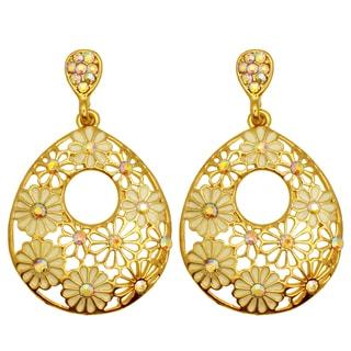 Kate Marie Goldtone Flower Pattern Dangle Earrings