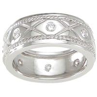 Sterling Silver TGW 1/4 carat Round-cut Cubic Zirconia Wedding-style Eternity Band