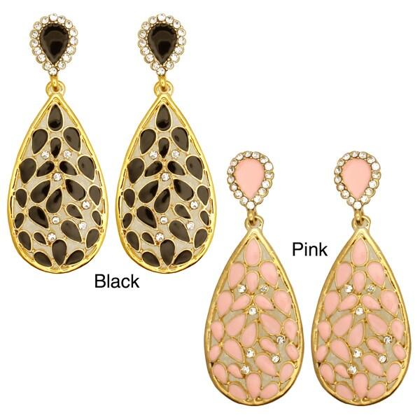 Kate Marie Goldtone Enamel and Cubic Zirconia Earrings