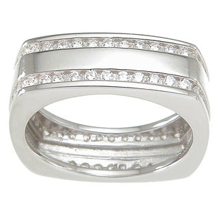 Sterling Silver Men S Round Cut Cubic Zirconia Wedding Style Band