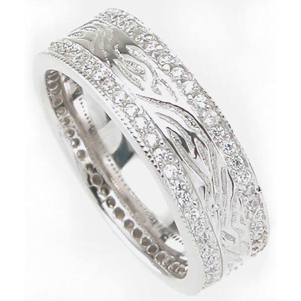 Sterling Silver 8mm Rhodium Finished Men's 1/2 ct Cubic Zirconia Wedding-style Band