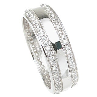 Plutus Sterling Silver High Polish 6 mm Men's Cubic Zirconia Wedding-style Band