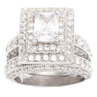 Sterling Silver Cubic Zirconia Bridal-style Ring Set - White