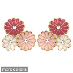 Kate Marie Goldtone Cubic Zirconia and Enamel Flower Earrings