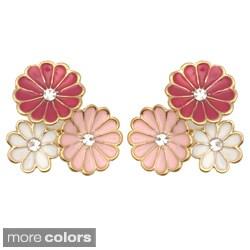 Kate Marie Goldtone Cubic Zirconia and Enamel Flower Earrings
