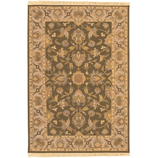 Hand-knotted Salevia Army Brown Semi-Worsted New Zealand Wool Rug (10' x 14')