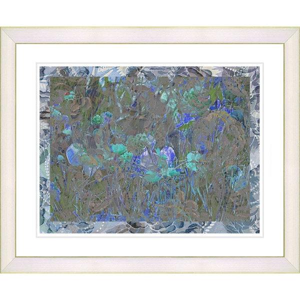 Studio Works Modern 'Summer Field on Lace - Blue' Framed Print