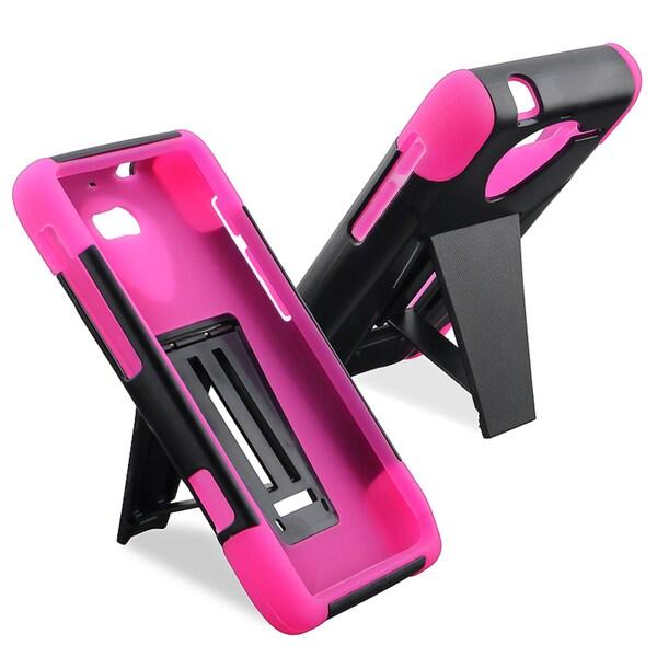 BasAcc Pink/ Black Hybrid Case/ Stand for Motorola Droid Razr M XT907