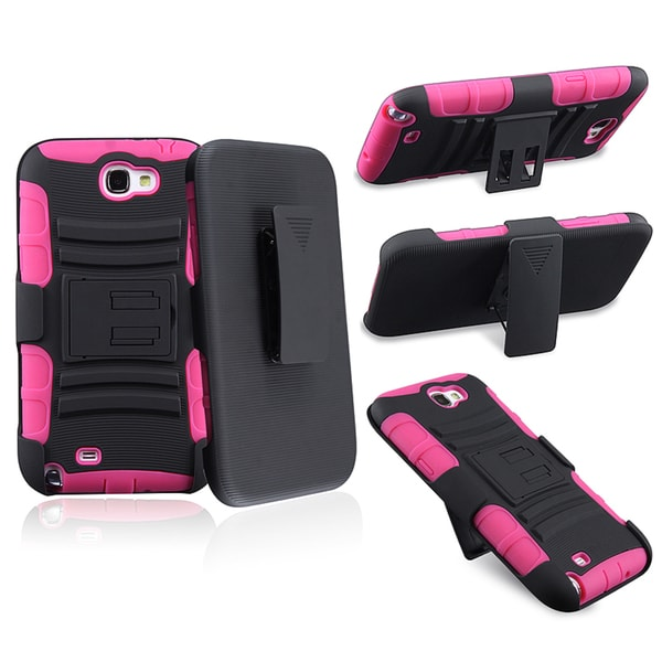 BasAcc Hot Pink/ Black Hybrid Holster for Samsung Galaxy Note II N7100