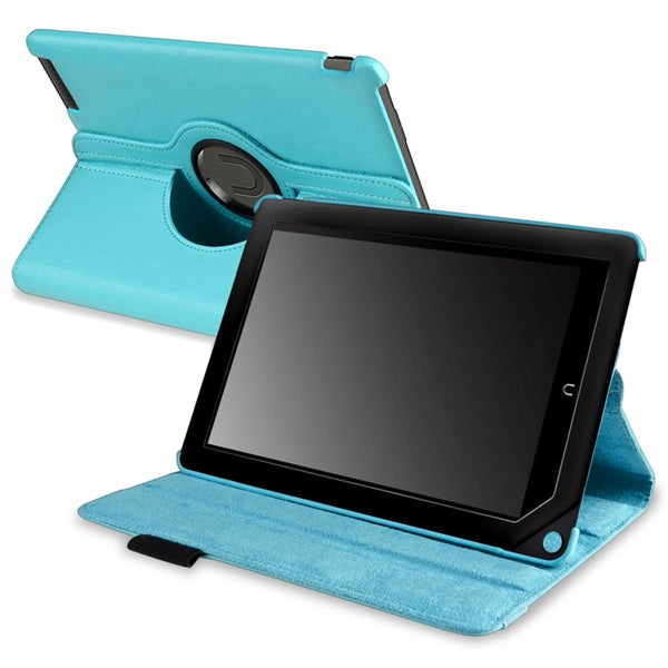INSTEN Light Blue Leather Swivel Phone Case Cover for Barnes & Noble Nook HD+