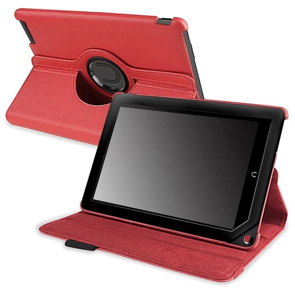 INSTEN Red Leather Swivel Phone Case Cover for Barnes & Noble Nook HD+