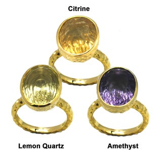 De Buman Gold over Silver Citrine, Amethyst or Lemon Quartz Gemstone Ring