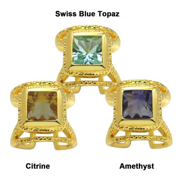 De Buman Gold-over-Silver Genuine Square Citrine, Amethyst or Swiss Blue Topaz Gemstone Ring