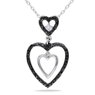 Miadora Sterling Silver 1/6ct TDW Black and White Diamond Necklace (H-I, I2-I3)