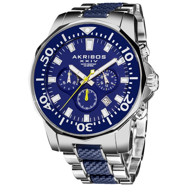Akribos XXIV Men's Stainless Steel Divers Chronograph Blue Watch