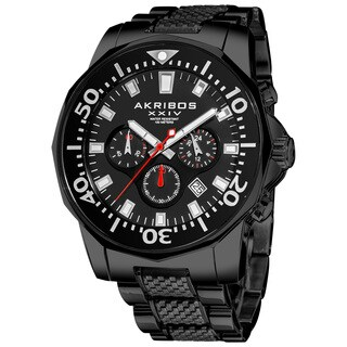 Akribos XXIV Men's Stainless Steel Diver's Traditional Chronograph Black Watch - RED/silver