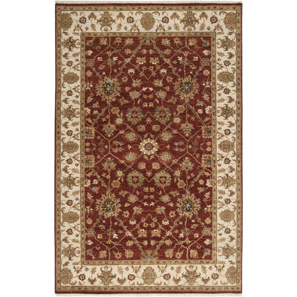 Hand-knotted Misset Scarlet New Zealand Wool Area Rug - 9' x 13'