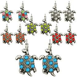 Kate Marie Silvertone Rhinestone Turtle Design Earrings