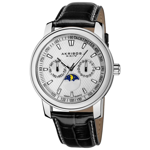 Akribos XXIV Men's Swiss Quartz Moon Phase Multifunction Silver-Tone Strap Watch