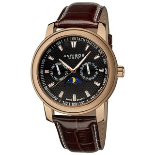 Akribos XXIV Men's Swiss Quartz Moon Phase Multifunction Rose-Tone Strap Watch