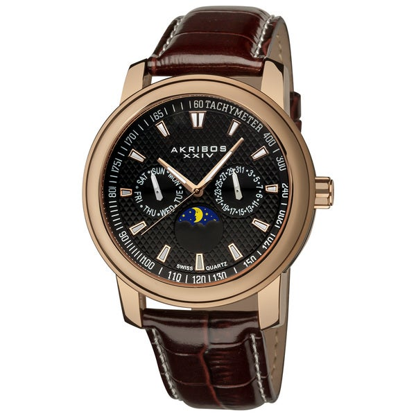 Akribos XXIV Men's Swiss Quartz Moon Phase Multifunction Rose-Tone Strap Watch with FREE GIFT - Black/Brown