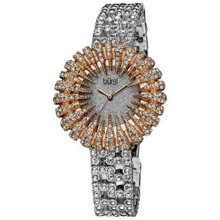 Burgi Women's Dazzling Crystal Quartz Rose-Tone Watch