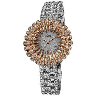 Burgi Women's Dazzling Crystal Quartz Rose-Tone Watch