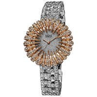 Burgi Women's Dazzling Crystal Quartz Rose-Tone Watch with FREE Bangle - GOLD/silver