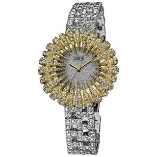 Burgi Women's Dazzling Crystal Quartz Gold-Tone Watch with FREE Bangle - GOLD/silver
