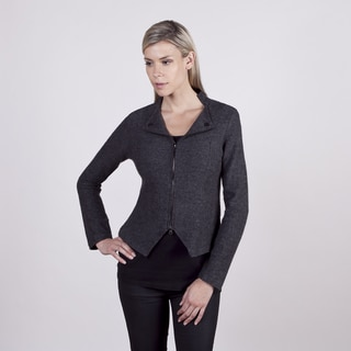 Colour Works Women's Charcoal Boiled Wool Motorcycle Jacket
