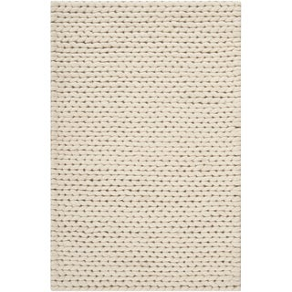 Handwoven Attert White New Zealand Wool Soft Braided Texture Rug (3' x 5')