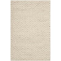 Hand-woven Attert White New Zealand Wool Soft Braided Texture Area Rug - 3' x 5'
