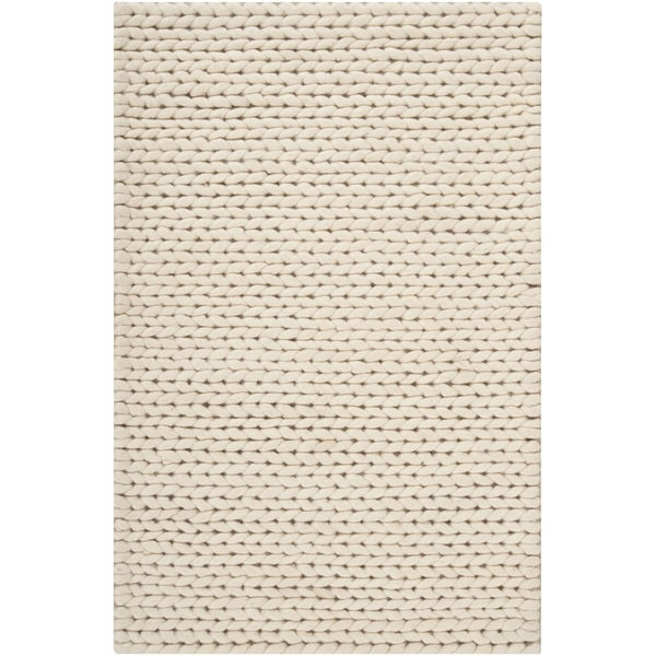 Cosy Textured Wool Rug: Shop Hand-woven Attert White New Zealand Wool Soft Braided