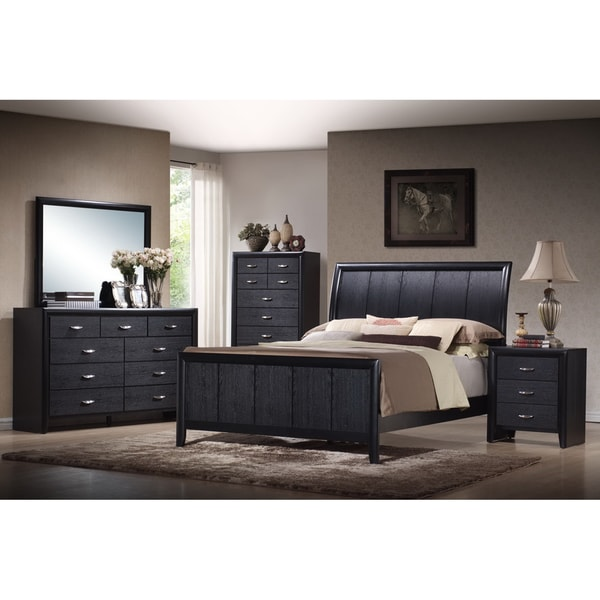 Kima Black Queen 5-piece Wooden Modern Bedroom Set