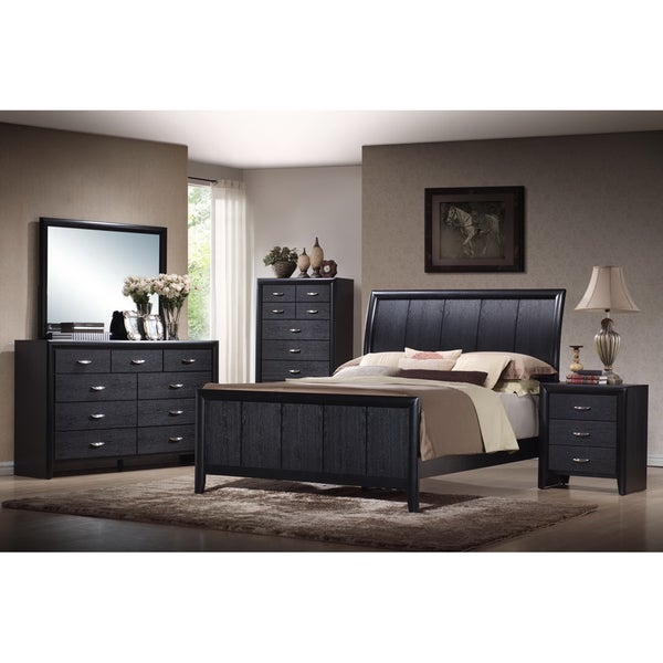 Kima black queen 5 piece wooden modern bedroom set free - Black queen bedroom furniture set ...