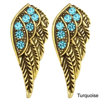Kate Marie Goldtone Rhinestone Wing Design Earrings (5 options available)