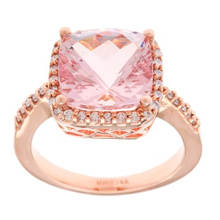 14k Rose Gold 4ct TGW Morganite and 1/4ct TDW White Diamond Ring (G-H, SI-1)