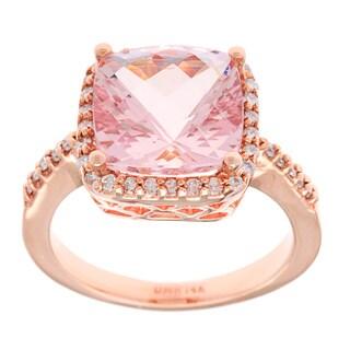 14k Rose Gold 4ct TGW Morganite and 1/4ct TDW White Diamond Ring (G-H, SI-1)