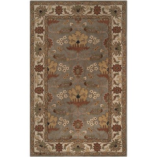 Hand-tufted Grey Traditional Bordered Lagonda Wool Rug (3' 3 x 5' 3)