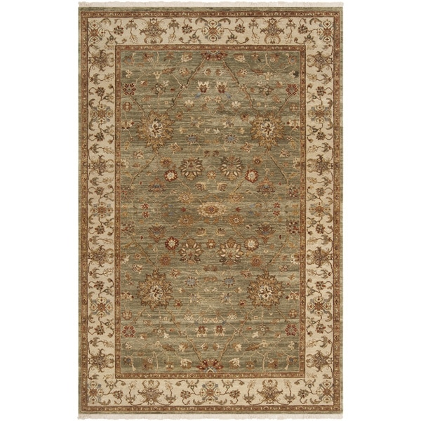 Hand-knotted Misset Asparagus Green New Zealand Wool Area Rug - 5'6 x 8'6