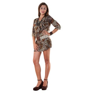 1 World Sarongs Women's V-Neck 3/ 4-Sleeve Animal Print Tunic Dress (Indonesia)