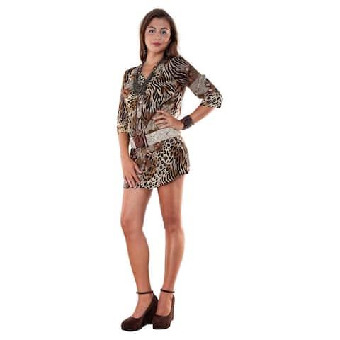 Handmade 1 World Sarongs Women's V-Neck 3/ 4-Sleeve Animal Print Tunic Dress (Indonesia)