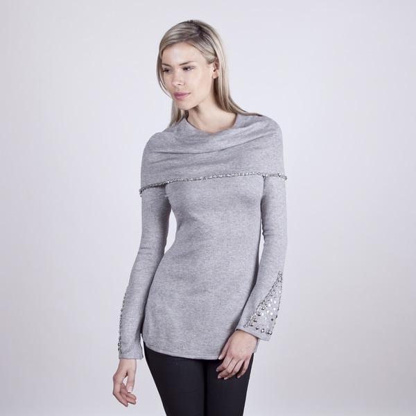 Colour Works Women's Fog Beaded Detail Capelet Sweater