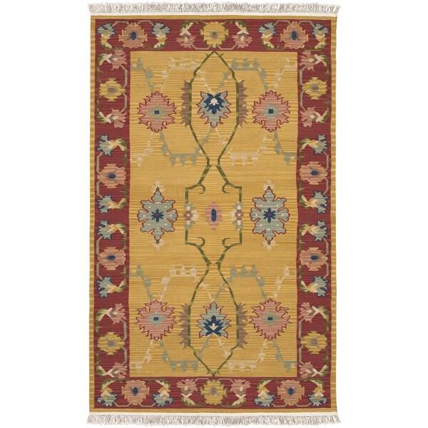 9 X 12 Nourison Nourmak Hand Knotted 100 Wool Persian: Handwoven Chieti Mustard New Zealand Wool Rug (9' X 13