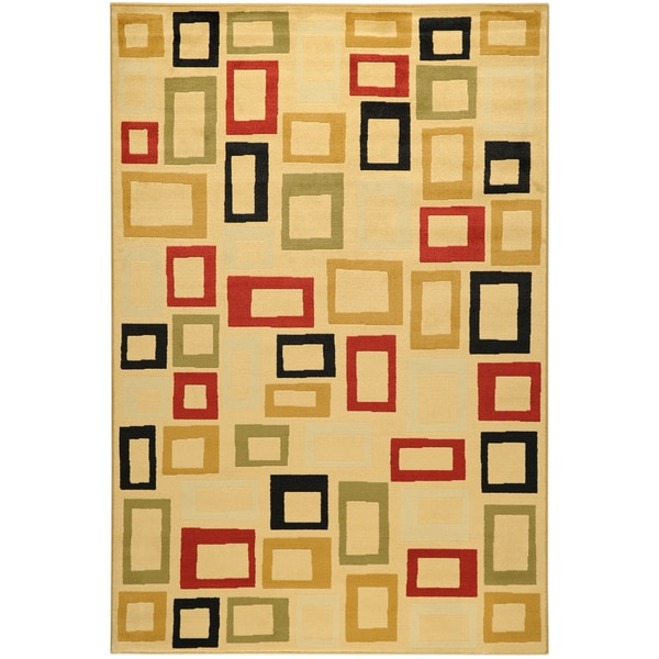 Ottomanson Yale Contemporary Abstract Beige Area Rug (5'3 x 7'3)